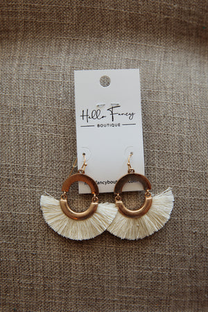 Cream Tassel Hoop Earrings
