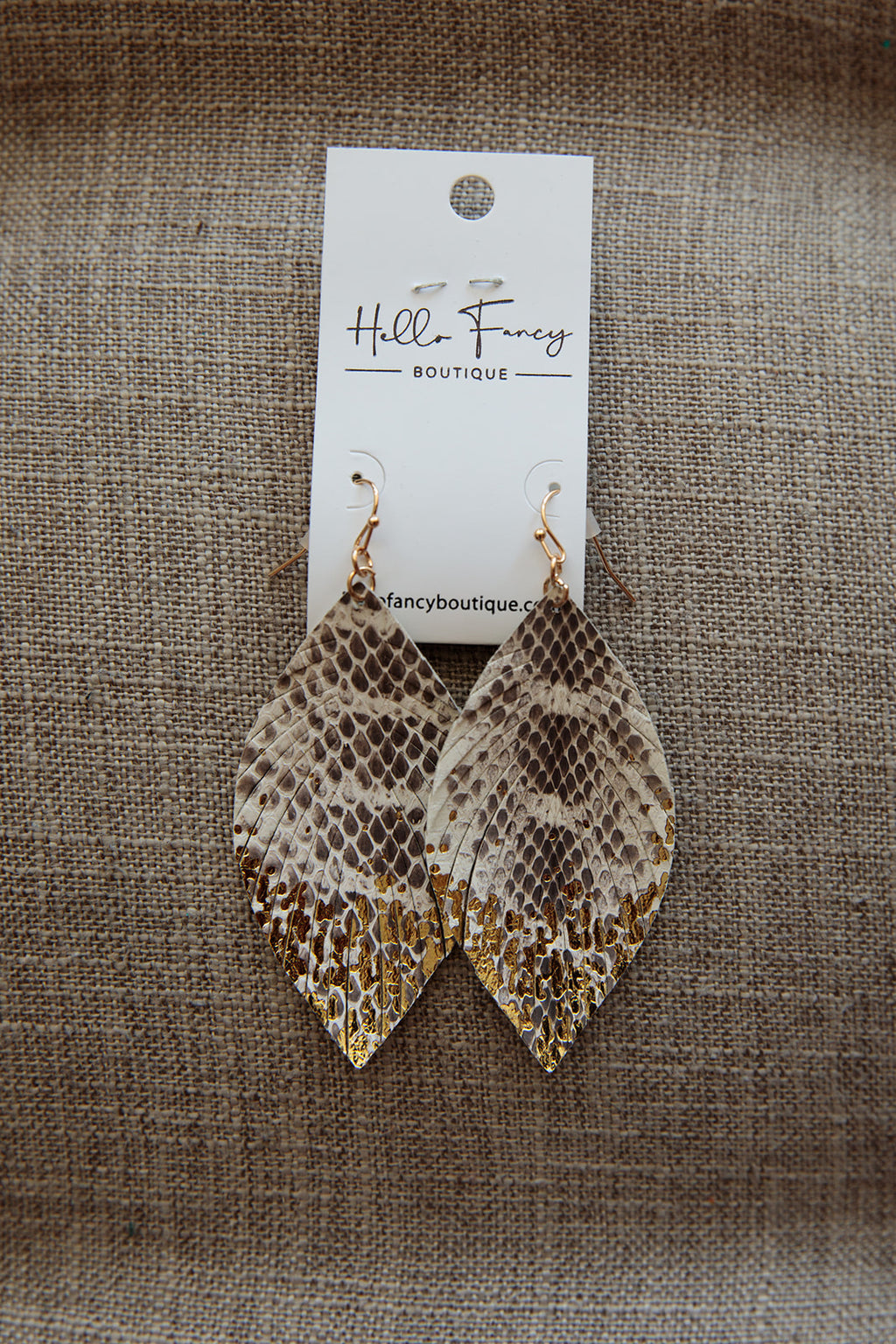 Snakeskin Gold Speckled Earrings