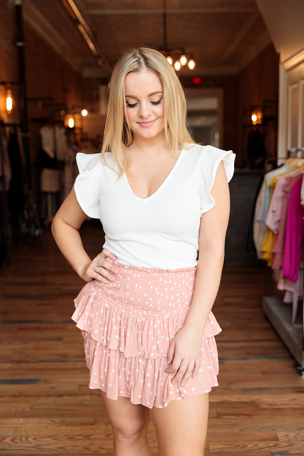 Peach Polka Dot Skirt