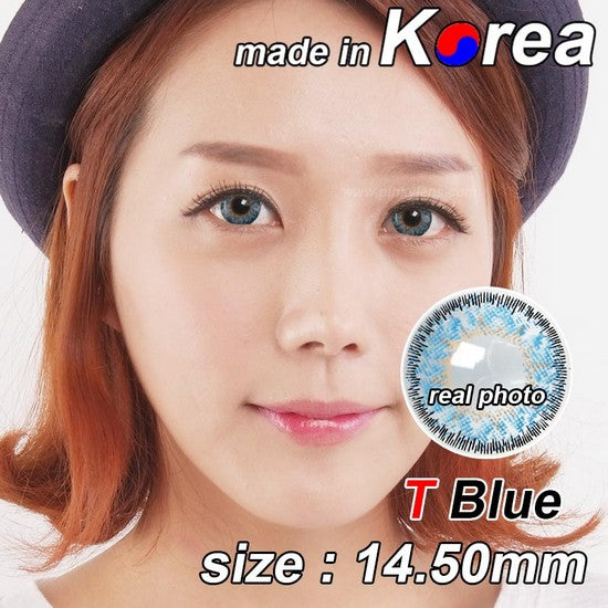 T BLUE colored contacts