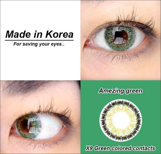 X9 GREEN colored contacts