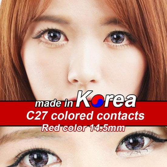 C27 RED colored contacts