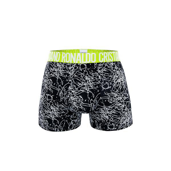 Fashion Trunks Black-White Pattern with Light Green Waistband