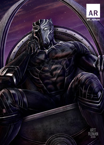 Black Panther Sitting on Throne