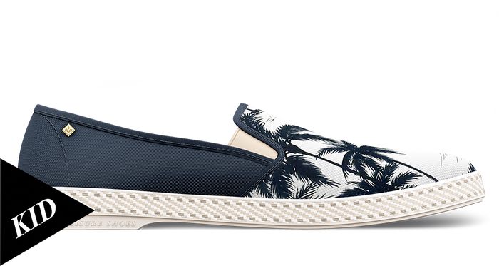 Palm Print Honolulu Bleu Kid, [variant_title], Mocassin, Rivieras European Union, homme, femme, été, chaussures, chaussures, riviera, espadrille, espadrilles, leisure, shoes, summer, man, women, loafers, loafer