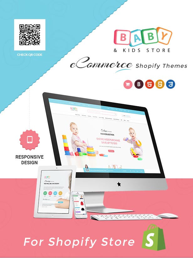 Baby Store – DRAG & DROP, clean, responsive Shopify themes (Shopify)