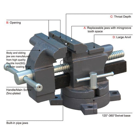"FREE SHIPPING!!! HVS-100 4"" Swivel Base Bench Vise with Anvil"