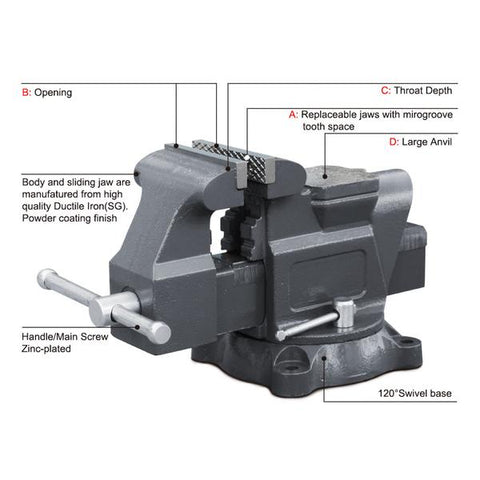 "AVS-125 5"" American Type Bench Vise (Swivel With Anvil)"