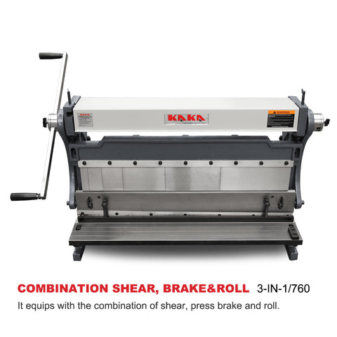 KAKA INDUSTRIAL 3-In-1/760 30-Inch Sheet Metal Brake, Shear and Roll