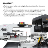 "BS-712R 7"" Metal Cutting Band Saw Machinery, 115V&230V/60HZ/1PH,Prewired 115V ."