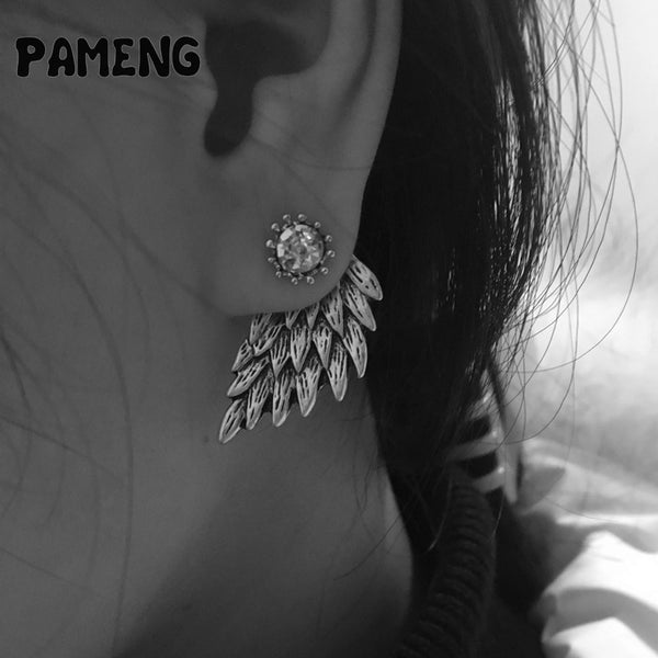 Pameng New Fashion Black Gold Silver Plated Gothic Women Cool Jewelry Angel Wings Rhinestone Alloy Stud Earrings Gifts