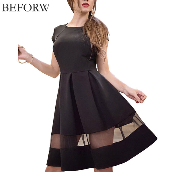 BEFORW Brand Women Dresses Fashion Round Neck Solid Casual Summer Dress Plus Size Splice Sexy Dress Black Vintage Office Dresses