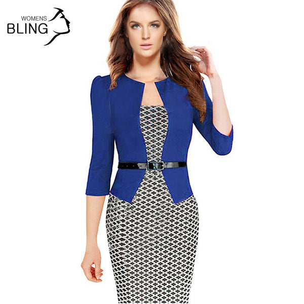 Women One-Piece Faux Jacket 2016 Bodycon Women Fashion Sheath Dress Office Lady Patchwork Tunic Knee Length Work Pencil Dresses