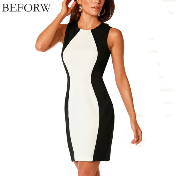 BEFORW Women Dress 2016 New Sleeveless Vest Dresses Plus Size Black And White Splice Sexy Dress Vintage Office Bodycon Dress