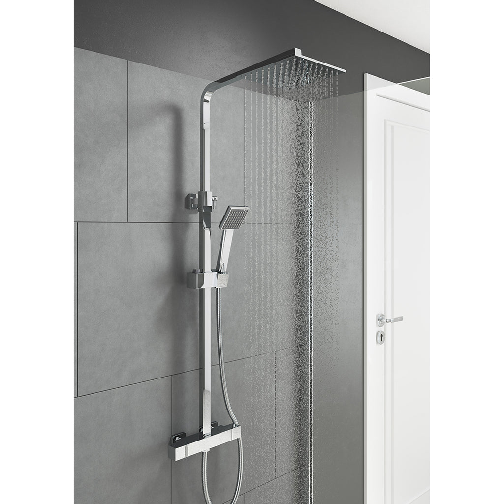 Square style thermostatic shower and slide rail kit