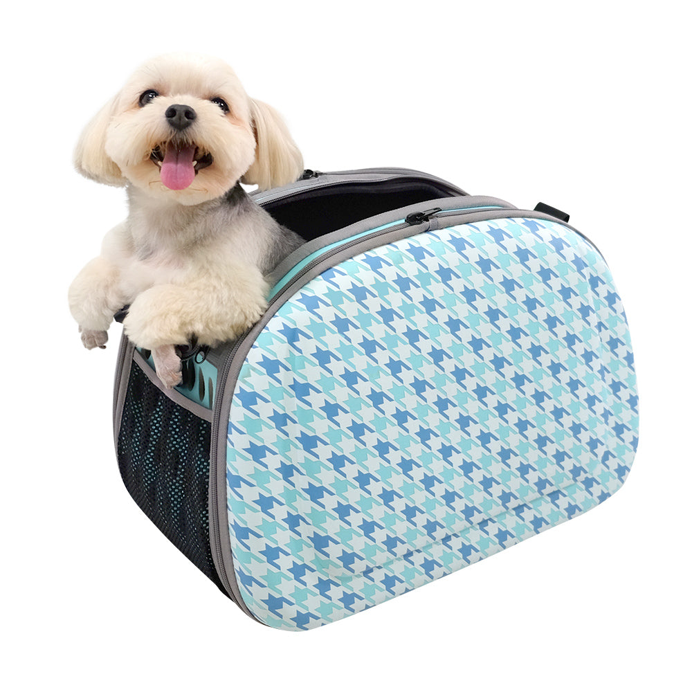 Collapsible Traveling Shoulder Carrier - Houndstooth