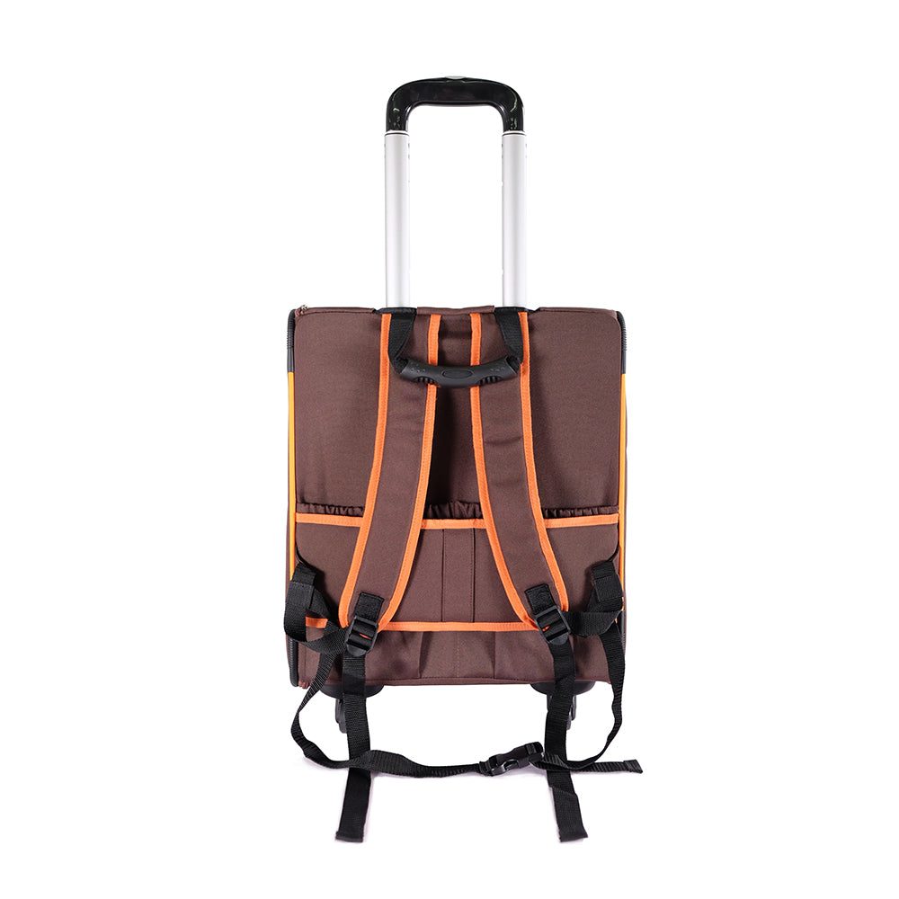 Liso Backpack Parallel Transport Pet Trolley – Orange/Brown