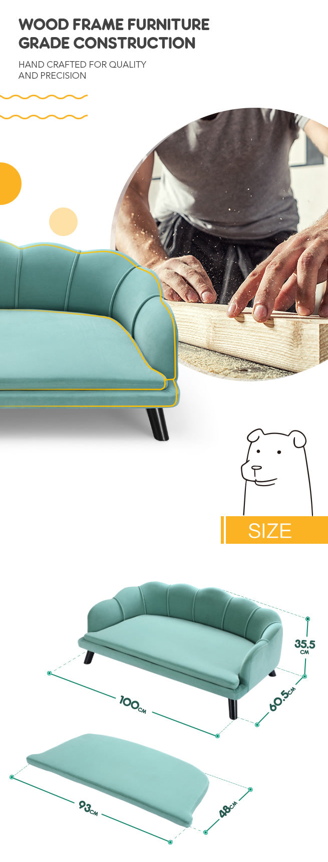 Extra Large Raised Dog Bed Cushioned Sofa