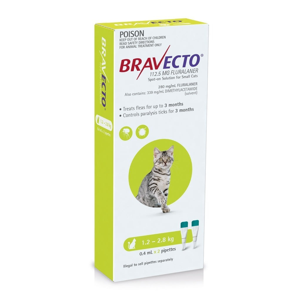 BRAVECTO SPOT-ON FOR SMALL CATS 1.2-2.8KG 2 PACK