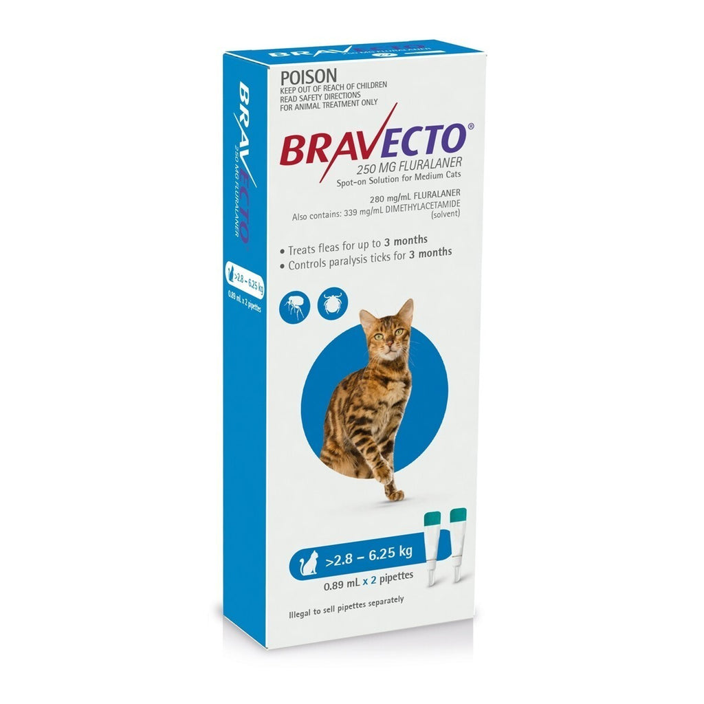 BRAVECTO SPOT-ON FOR MEDIUM CATS 2.8-6.25KG 2 PACK