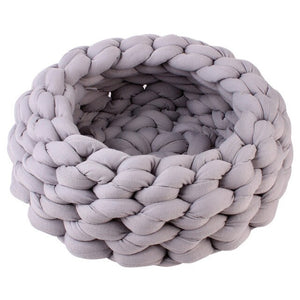 Chunky Cotton Braided Knit Pet Bed in Grey
