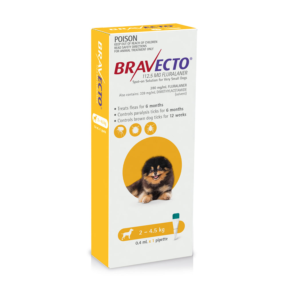 Bravecto Spot-On Very Small Dogs Yellow (2 – 4.5kg)
