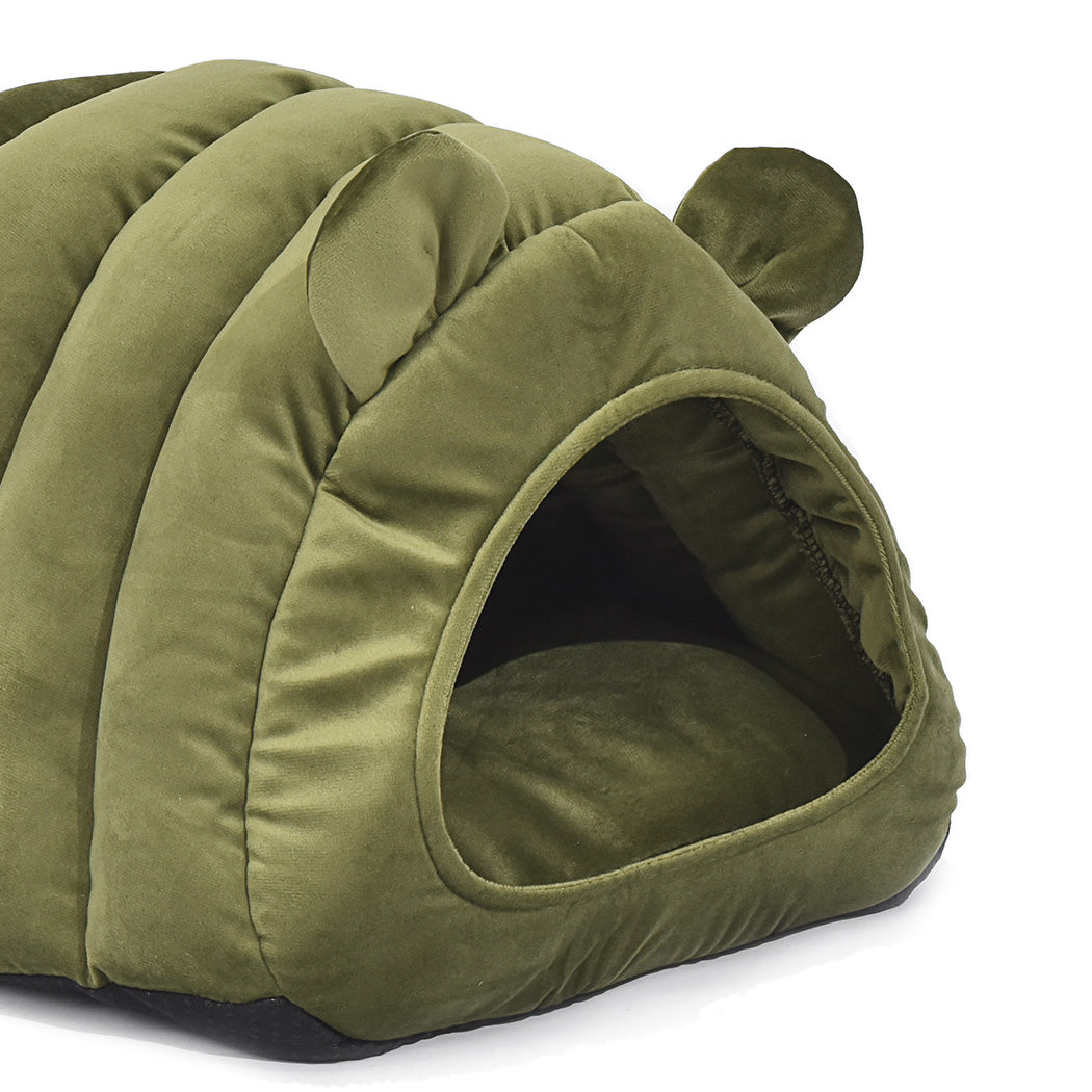 Comfy Cat Cave Igloo Round Nest Green L