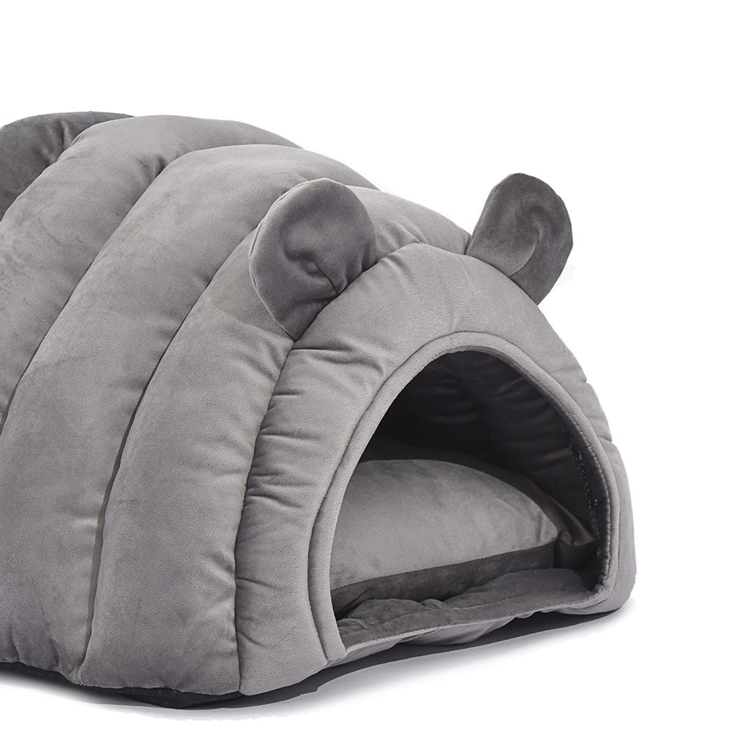 Comfy Cat Cave Igloo Round Nest Grey L