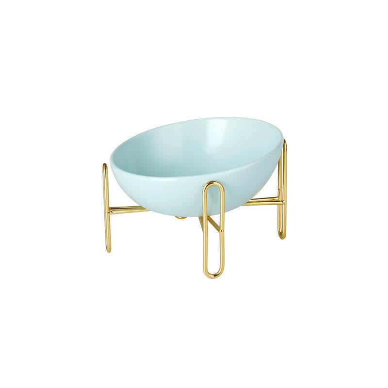 Gold Stand Ceramic Bowl in Tiffany (Pre-Order)