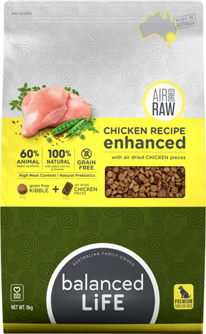 Balanced Life Enhanced Chicken Air Dried + Kibble Dog Food 9Kg