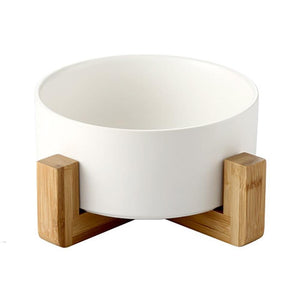 Dog Cat Ceramic Bowl with Wooden Stand