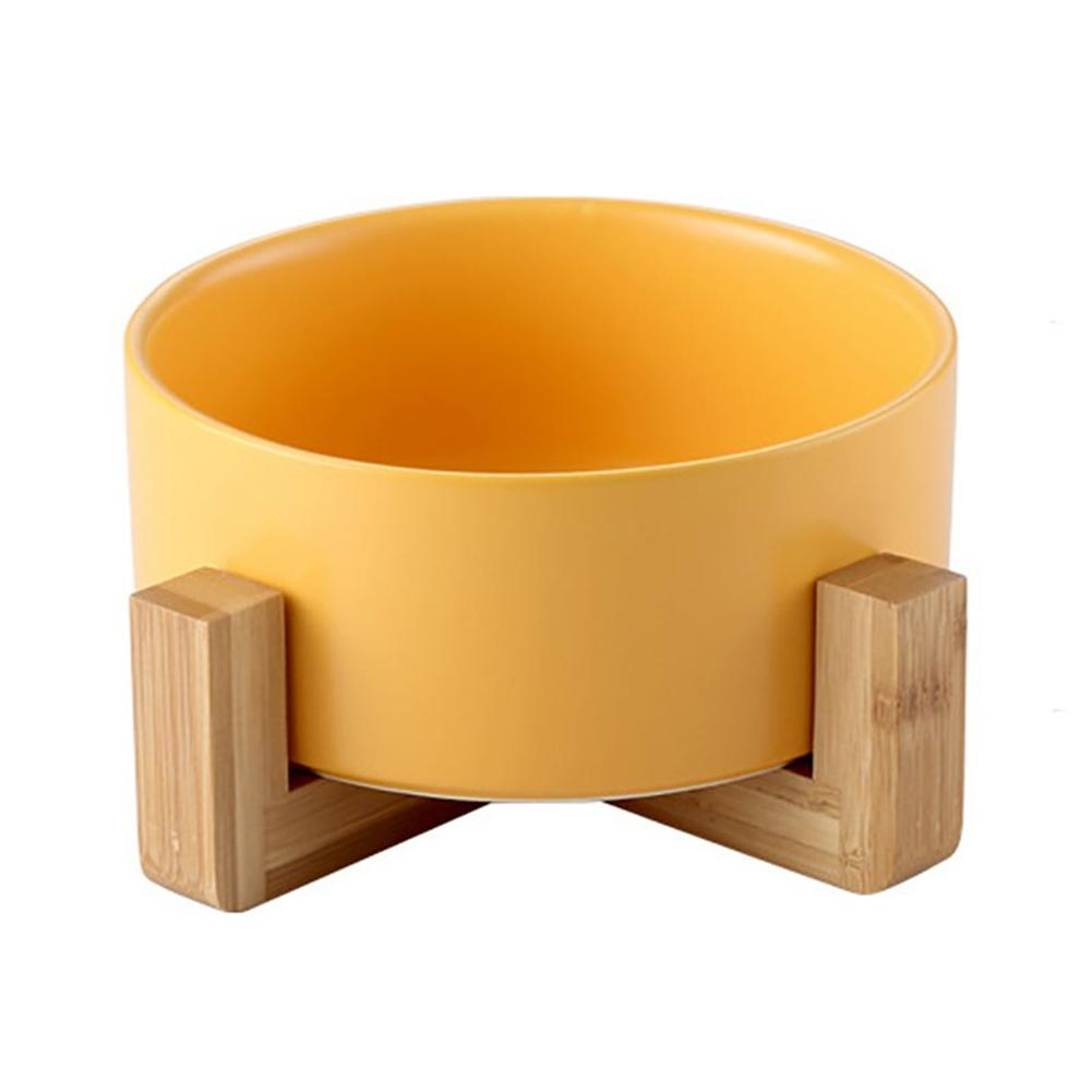 Ceramic Bowl with Wooden Stand in Yellow