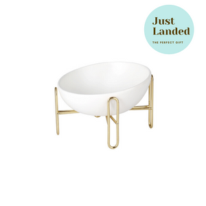 Gold Stand Ceramic Pet Bowl in White