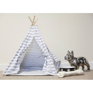 Grey stripe pet teepee for dogs and cats