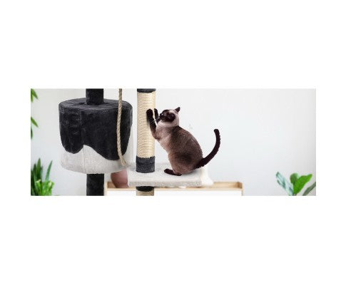 Pet Cat Scratcher Pole - White and Grey
