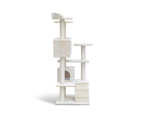 134cm Multi Level Cat Post in Beige - House of Pets Delight
