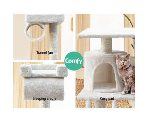 141cm Cat Scratching Tree Post with Hammock (2 Colours)