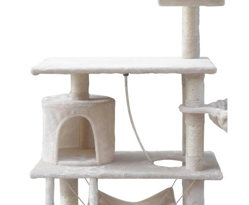 141cm Cat Scratching Tree Post with Hammock - House of Pets Delight