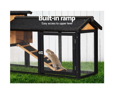 Pet Rabbit Hutch Hutches Large Metal Run Wooden Cage Waterproof Outdoor Pet House Chicken Coop