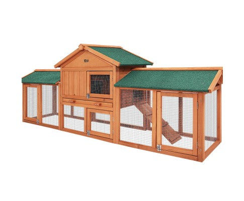 Chicken Pet Rabbit Hutch - Wooden Coop with Run