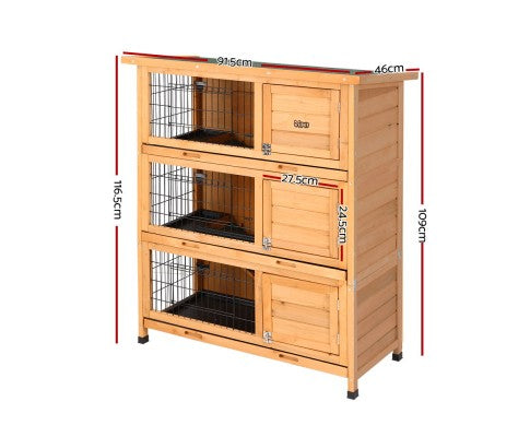 Large Waterproof Wooden Pet Rabbit Hutch with Metal Run