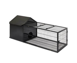 Hutch with Run in Midnight Black - House of Pets Delight