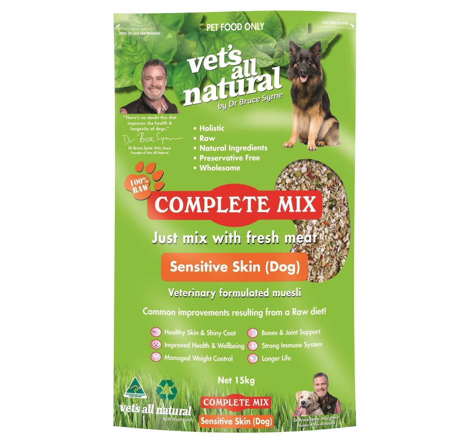 Vets All Natural Complete Mix 15Kg Bag Sensitive Skin