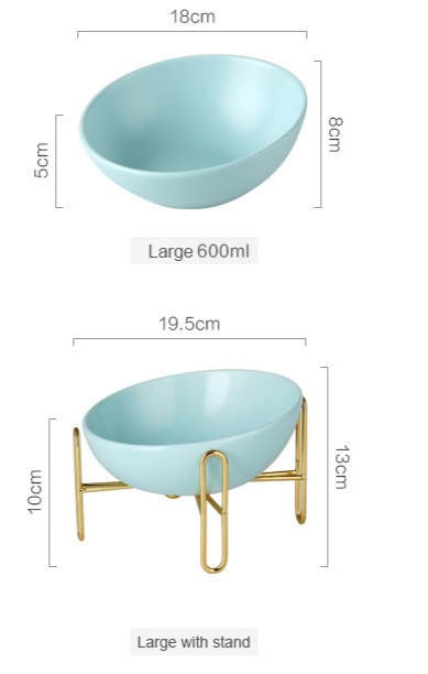 Gold Stand Ceramic Bowl in Tiffany