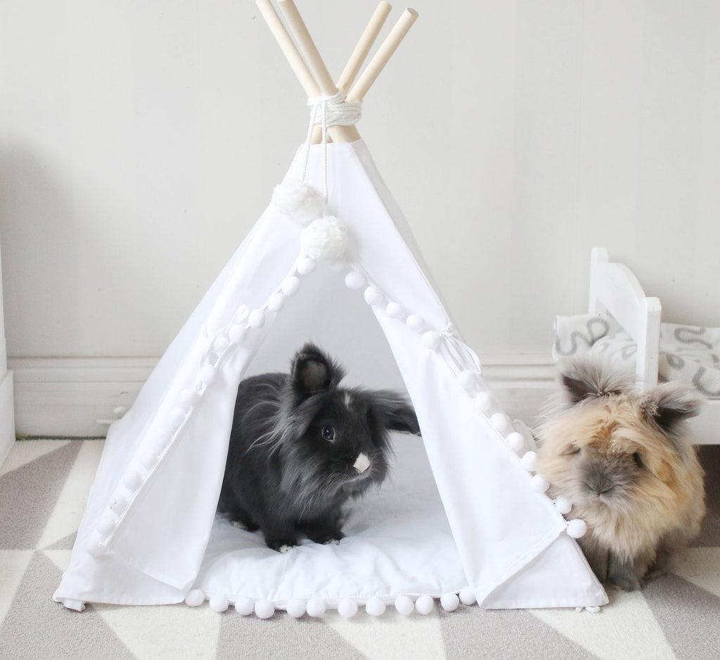 Pom Pom Teepee With Mat in White