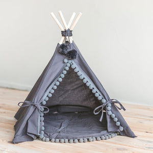 Pom Pom Teepee With Mat in Grey