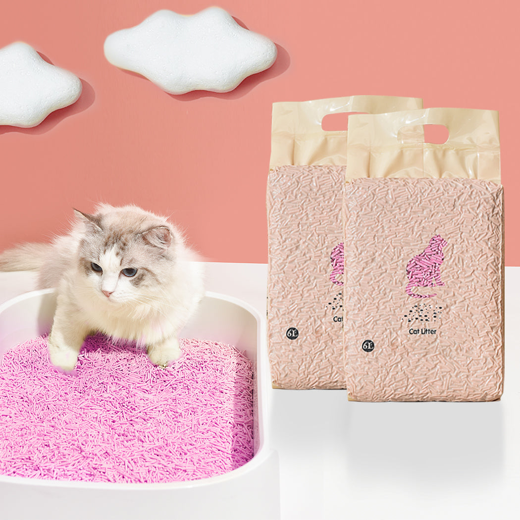 Tofu Cat Litter 6L Edible Crystals Flushable Biodegradable Peach X8