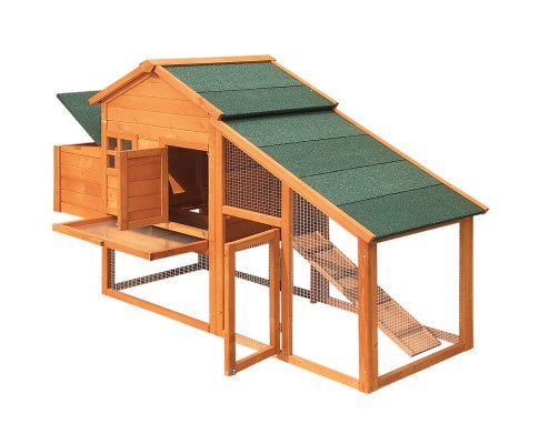 Wide Wooden Chicken Coop with Nesting Box