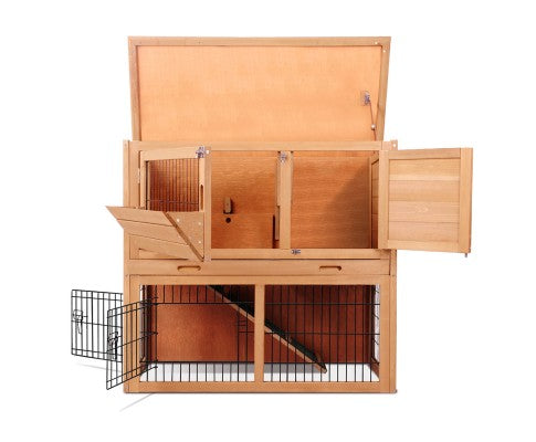Rabbit Hutch w/ 2 Storeys Run - House of Pets Delight