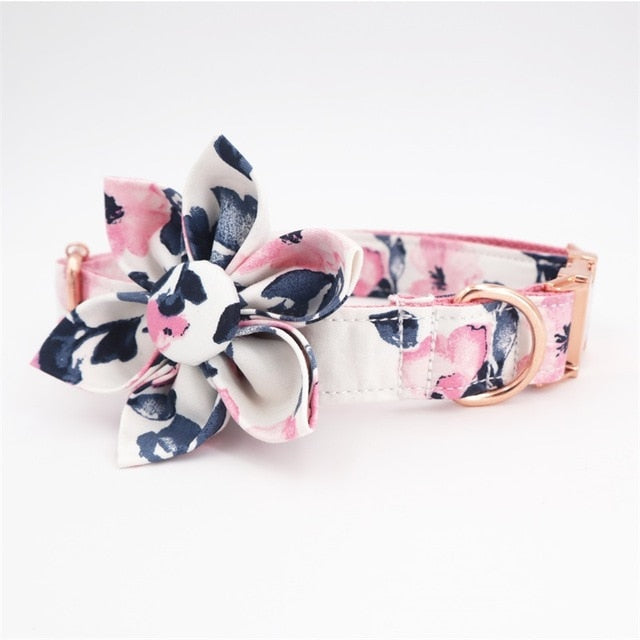 Flower Collar & Lead in Pink Set